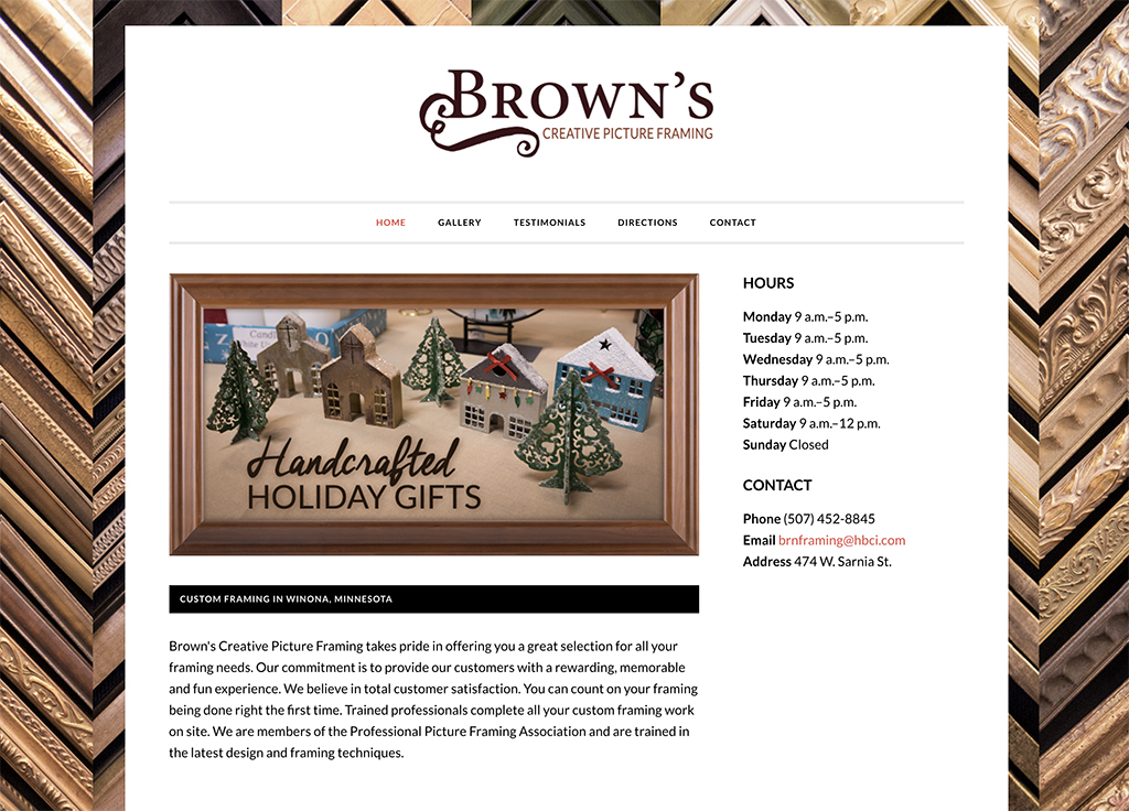Brown's Creative Picture Framing Website